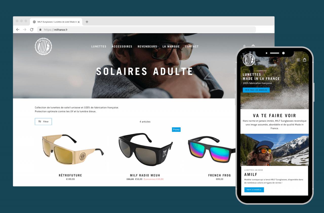 Création boutique en ligne pour lunettes de soleil
