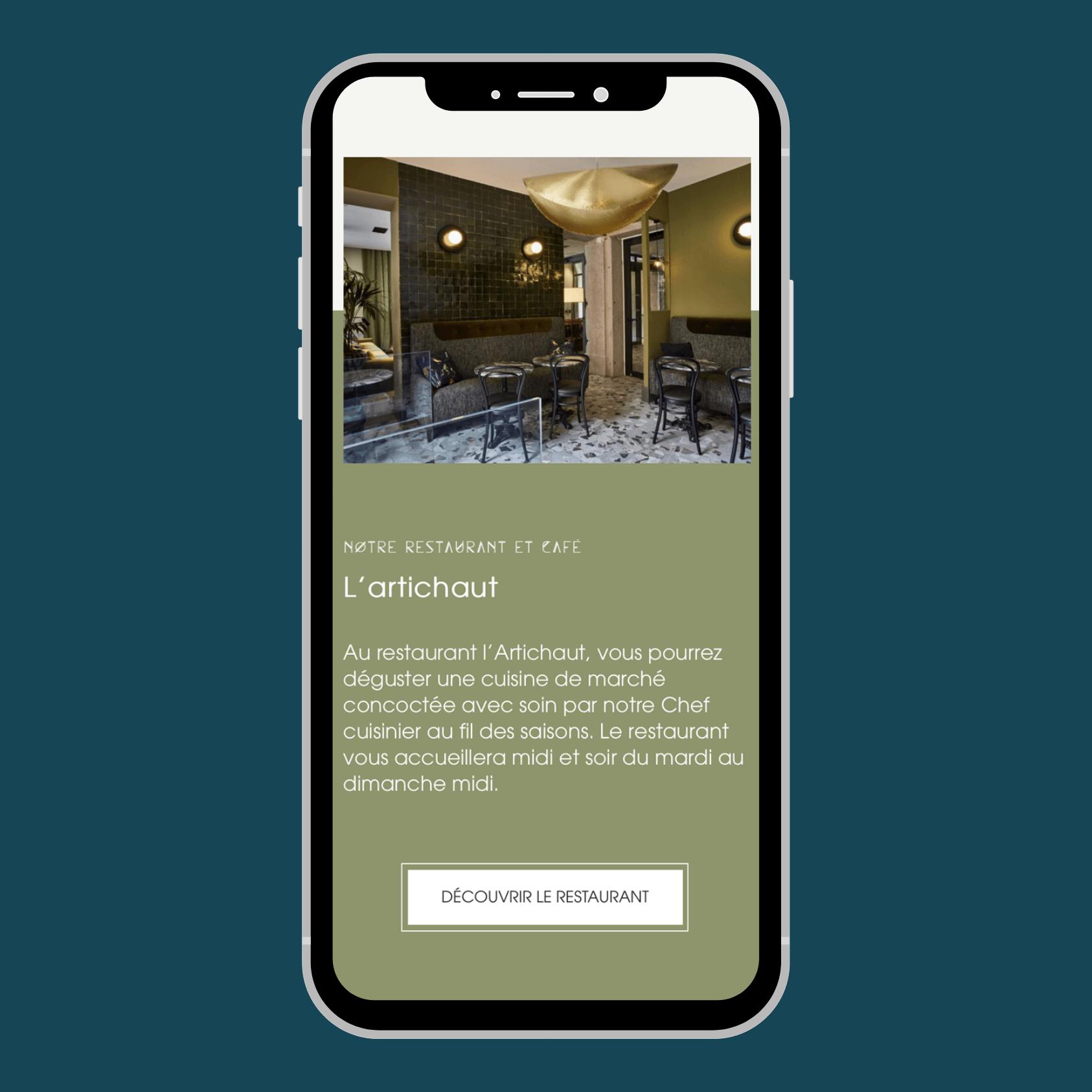 Site web mobile pour restaurant