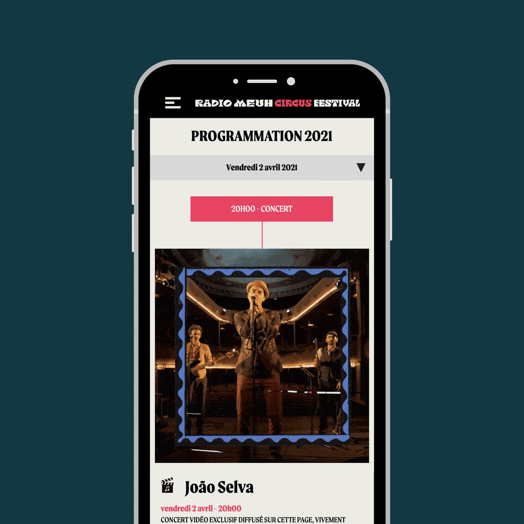 Maquettes UX mobile - Page artiste - Festival de musique