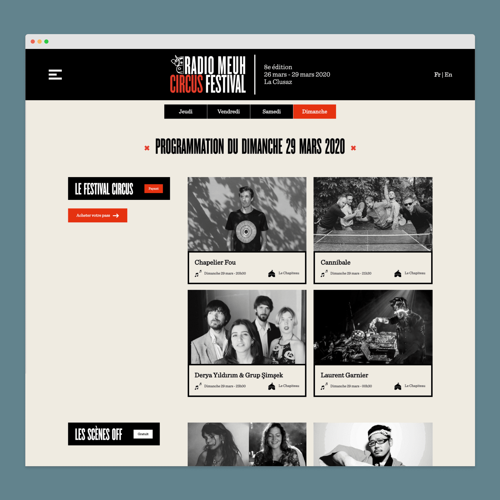 Développement du site Web du festival Radio Meuh Circus