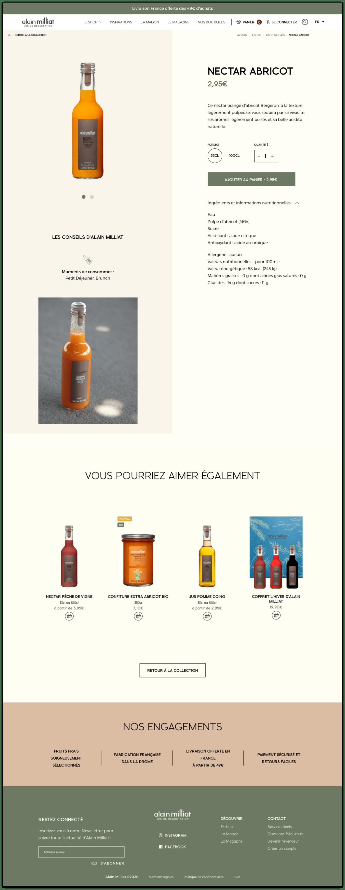 Webdesign e-commerce - Inspiration page produit