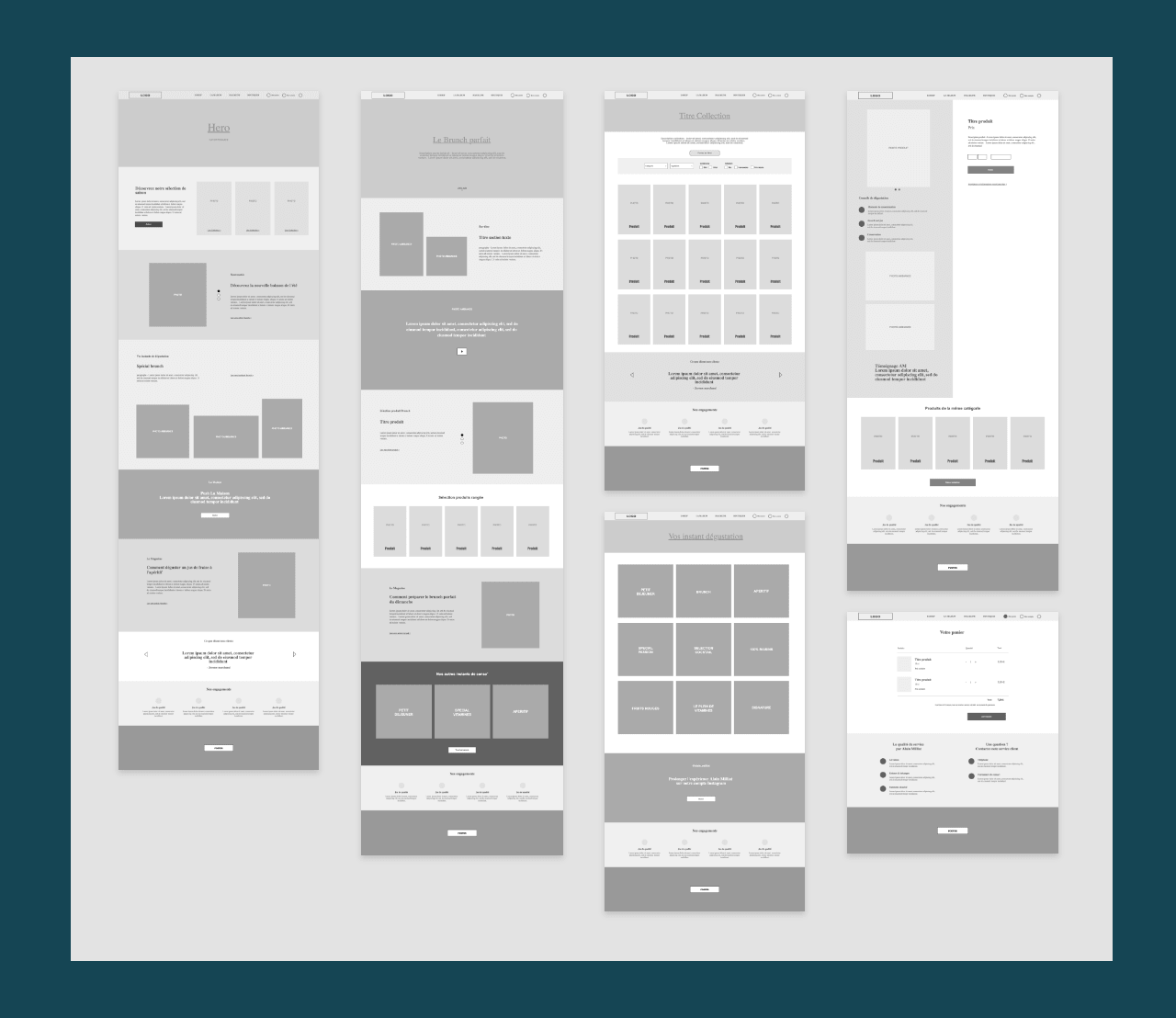 Webdesign - wireframes pour site e-commerce