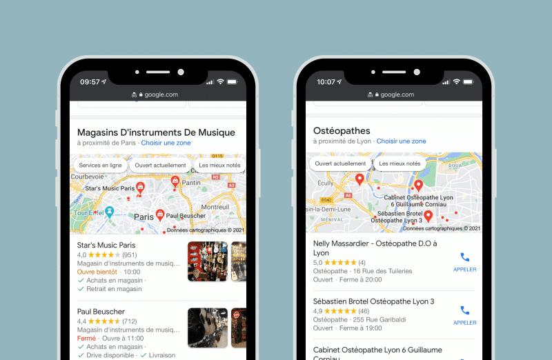 Exemple de recherche localisée - Google My Business