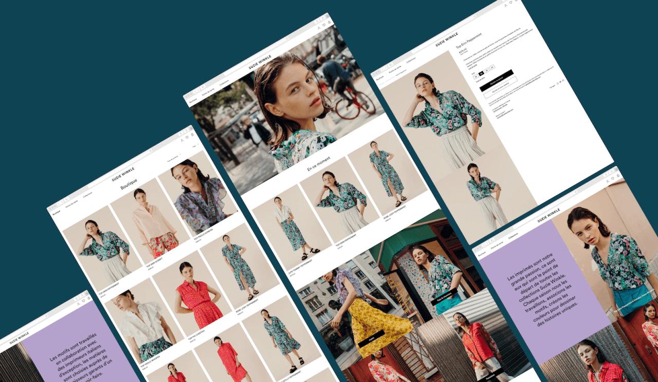 Exemple de boutique Shopify sur mesure pour marque de mode